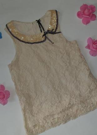 Нарядная гипюровая блузка для девочки next