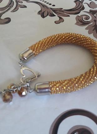 Браслет- жгут из чешского бисера золотой
