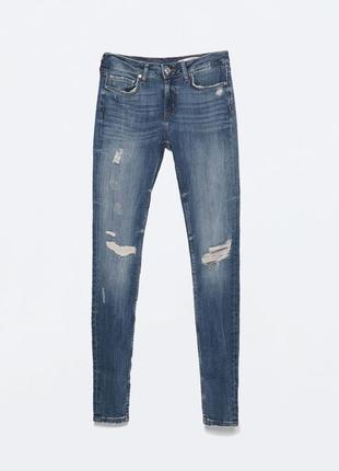 Новые с биркой скинни джинсы zara с разрезами высокая посадка премиум деним 38 размер