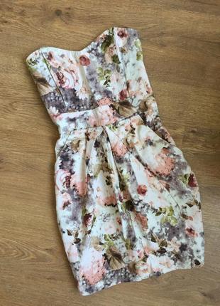 Платье бюстье в цветочный принт