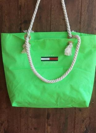 Пляжная сумка с канатными ручками. салатовая
