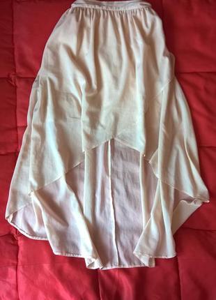 Нежная,удлиненная сзади шифоновая юбка с подкладкой