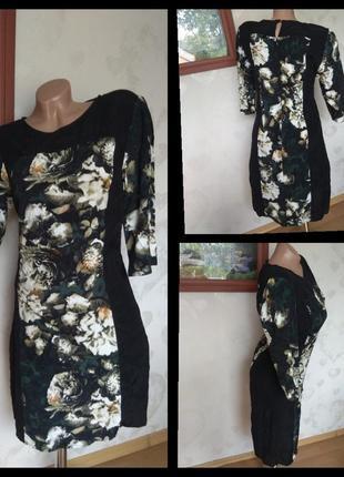 Платья миди прямого кроя, по фигуре, вискоза, натуральное платья цветочный принт