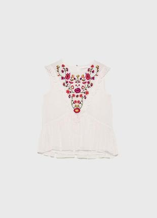 Шикарная блуза zara с вышивкой -р. м