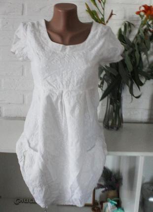 Белое натуральное платье хлопок 💚смотрите всё sophie