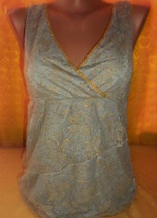 Стильная двойная туника майка - гипюр с золотой вышивкой. р. xs -vila clothes