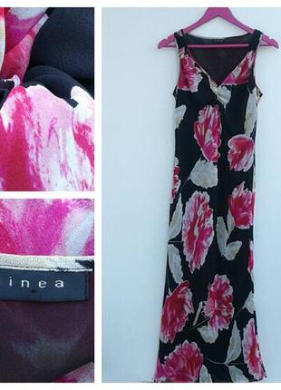 Шелковое платье миди с огромными цветами платье шелк 100%