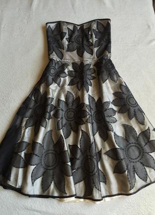 Шикарное пышное миди платье сарафан корсетный верх