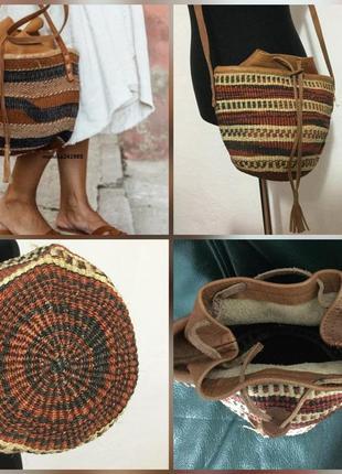 Фирменная, натуральная, соломенная, круглая сумка ведро, вставки из натуральной кожи