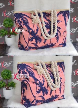 Женская тканевая пляжная сумка пальмы.