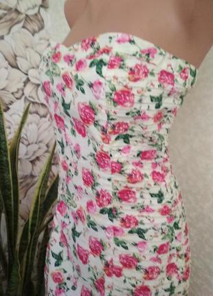 Короткое платье, хлопок, цветы. 1+1= 50% скидки на 3ю вещь.