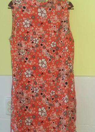 Яркое морковное платье в цветы от f&f