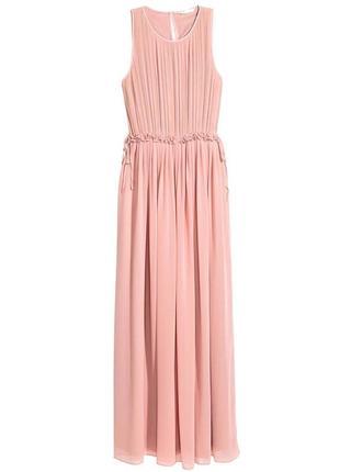 Элегантное длинное вечернее, выпускное шифоновое платье макси с верхом плиссе от h&m.