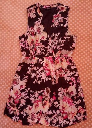 Платье на запах, цветочный принт