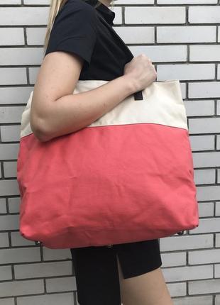 Большая ,красивая сумка,торба-шоппер,текстиль+кож.зам детали, tcm tchibo