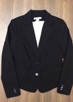 Коттоновый чёрный деловой пиджак-жакет h&m новый! распродажа остатков!
