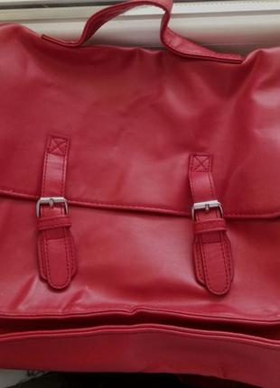 Сумка рюкзак портфель на длинной ручке красная  atmosphere