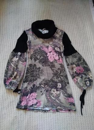 Милое тепленькое платьице-туничка с рукавами-воланами