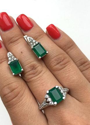Новое кольцо из серебра 925 с агатом и фианитами