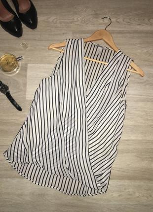 Стильная блуза с запахом / шифоновая блуза в полоску