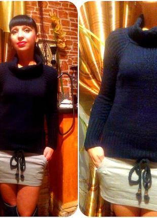 Теплющий женский свитерок черного цвета, размер м, турция
