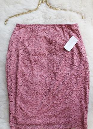 Forever21- кружевная юбка-миди, карандаш, пепельно-розовая - размер l-m, 12-10, 48-463 фото