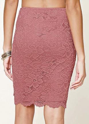 Forever21- кружевная юбка-миди, карандаш, пепельно-розовая - размер l-m, 12-10, 48-46