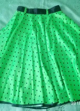 Пышная юбка-солнце в горошек