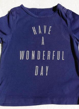 Marks&spencer. футболка синяя. 6-9 месяцев.