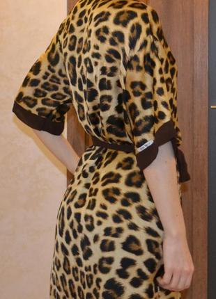 Шелковый халатик леопардовый с шифоном