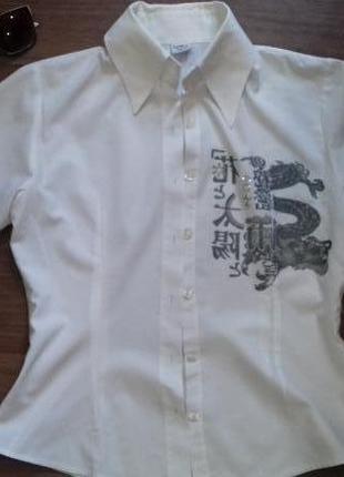 Классная рубашка с китайскими иероглифами и рисунком