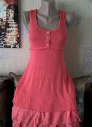 Коралловое  платье италия вискоза