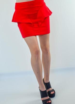 Zara красная мини юбка с баской