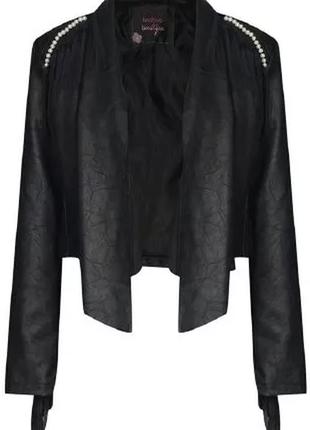 #333 стильная куртка / кардиган с бахромой и эффектом мятой кожи boohoo
