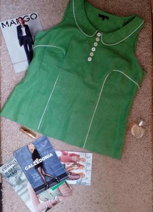 Next оригинл натуральная льняная блузка большого размера цвета весенней зелени uk20