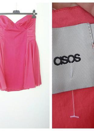 Розовое короткое платье бюстье от asos xl l мини платье