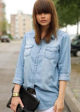 Стильная молодежная джинсовая рубашка