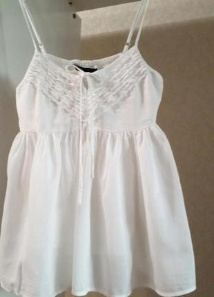Белая майка тонкий хлопок белая блузка тонкий хлопок