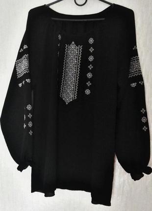 Блузка вышиванка, шифон, черная