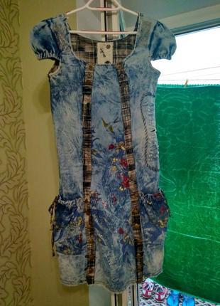 Классное джинсовое платье-сарафан.