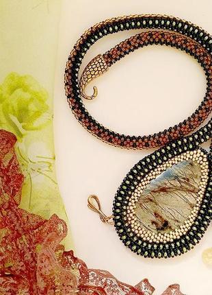 Скидка! дизайнерское колье змея с яшмой
