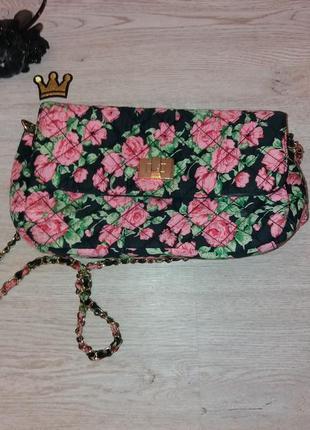 Красивая легкая летняя сумка-клатч цветочный принт atmosphere