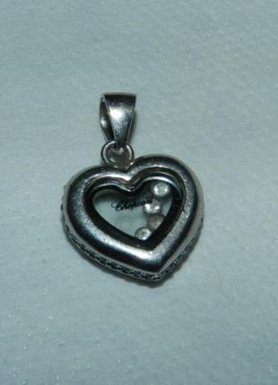 Кулон подвеска сердце в серебре фирмы  chopard
