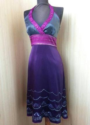 Платье сарафан натуральный шелк расшитый бисером  s/m