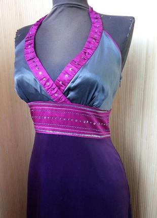 Платье сарафан натуральный шелк расшитый бисером  s/m2