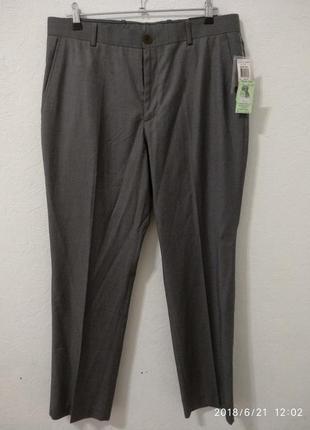 Мужские классические серые брюки 32/33рр легкие в еле заметную полоску