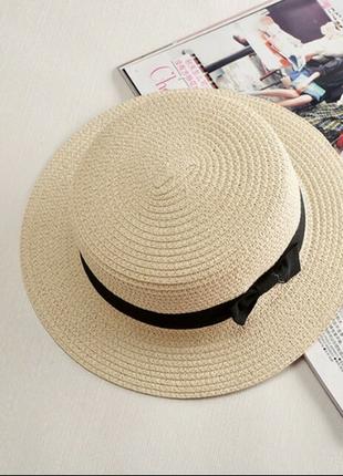 Стильная модная летняя соломенная шляпа канотье тренд 2018