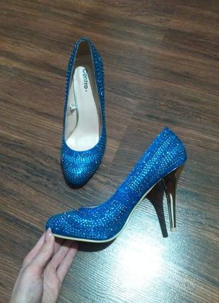 Туфли centro синие в камнях и блестках