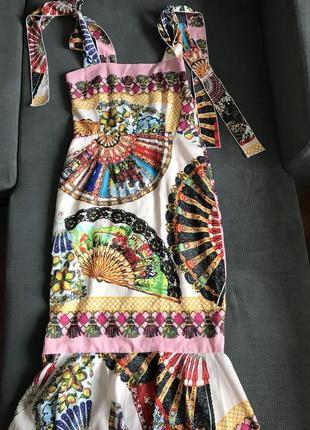 Платье летнее шелковое с веерами