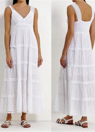 Летнее кружевное длинное платье сарафан нарядное в пол макси с завышенной талией s m l xl